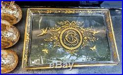 Baccarat Superbe Plateau Et 6 Carafes En Cristal Grave Dore Style Louis Xv-xvi