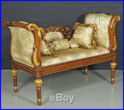 Banquette Canape Style Baroque Louis XVI En Bois Hetre Brun Dore Empire