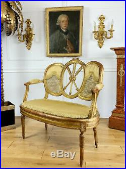 Banquette Cannée D'époque Napoléon III En Bois Doré De Style Louis XVI