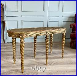 Banquette De Piano D'époque Napoléon III En Bois Doré De Style Louis XVI