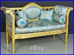 Banquette Style Louis XVI Canape Meridienne Baroque En Bois Hetre Dore Bleu