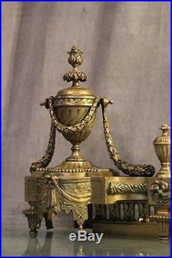 Barre de cheminée 19e en bronze de style Louis 16
