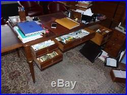 Beau bureau ancien XIXe, Chêne, bronze & cuir, style louis XVI