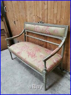 Bel ensemble Banquette + 2 fauteuils et 4 coussins, salon de style Louis XVI