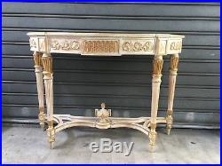 Belle Console En Bois Patine Beige Style Louis XVI