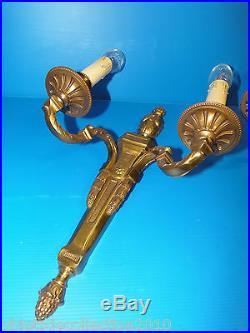 Belle Paire D'appliques Bronze Style Louis XVI Lucien Gau 1950 Tres Deco