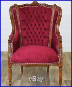 Bergere Fauteuil Style Louis XVI En Hetre Velours Rouge Siege Baroque