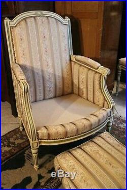 Bergère de style Louis 16 double patine (possibilité paire de chaises assortie)