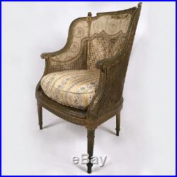 Bergère de style Louis XVI bois doré, cannée