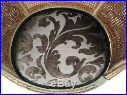 Bergère de style Louis XVI dossier canné, bois laqué gris / vert
