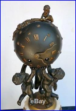 Bernoux Paris Belle Pendule & Candelabres Angelots Bronze Style Louis XVI 19eme