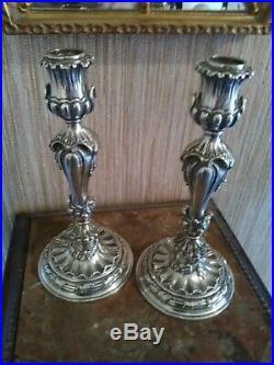 Bougeoirs en Bronze Argenté de Style Louis XVI