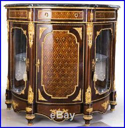 Buffet Vitrine Royale Style Louis XVI Commode Vitree En Marqueterie Acajou