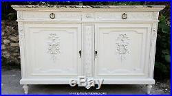 Buffet ancien avec marbre blanc, patiné blanc, style Louis XVI