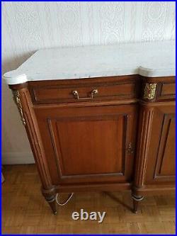 Buffet enfilade acajou plateau marbre blanc style Louis XVI