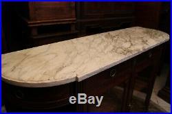 Buffet enfilade vitrine argentier acajou massif plateau marbre style Louis XVI