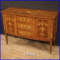 Buffet meuble salon commode en bois incrusté style ancien Louis XVI 900