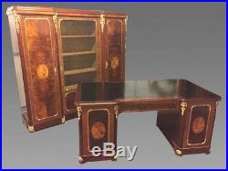Bureau et bibliothèque style Louis XVI marqueterie bronzes dorés 1900