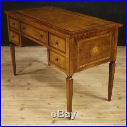 Bureau meuble table secrétaire italien marqueté bois style ancien Louis XVI