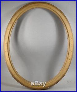 CADRE BOIS sculpté DORÉ FEUILLE OVALE STYLE LOUIS XVI diamètre 56,5 x 44,5 cm