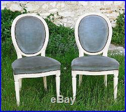 CHAISE LOUIS XVI, 4 belles chaises de style Louis XVI, CHAISE MÉDAILLON