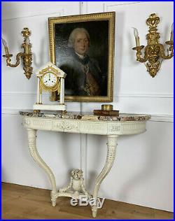 CONSOLE D APPLIQUE EN BOIS PATINÉE 19eme DE STYLE LOUIS XVI AVEC DESSUS MARBRE