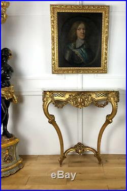 CONSOLE FIN DU 19e EN BOIS DORÉ DE STYLE LOUIS XVI AVEC SON DESSUS MARBRE BLANC