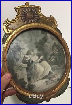 Cadre Bois Doré Style Louis XVI XVIIIeme Gravure Érotique Ancien Italien Rond