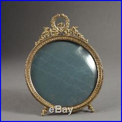 Cadre Photo 1900 Style Louis XVI Bronze Doré Vitre Bombée