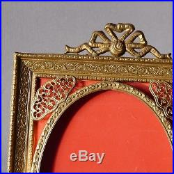 Cadre Photo Style Louis XVI En Bronze Et Laiton Ajouré, Début XX ème