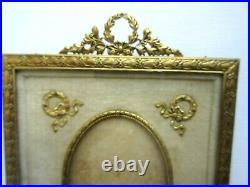 Cadre XIXème, porte-photo bronze doré, fronton Noeud Louis XVI, Style Empire
