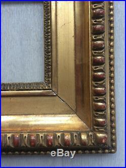 Cadre doré à la feuille style Louis XVI début XIXème Empire feuillure 10x7cm