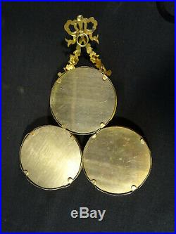 Cadre triptyque style Louis XVI bronze et laiton XIXéme