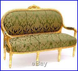 Canape + 4 Fauteuils Salon Baroque Royal Style Louis XVI En Bois Hetre Dore Vert