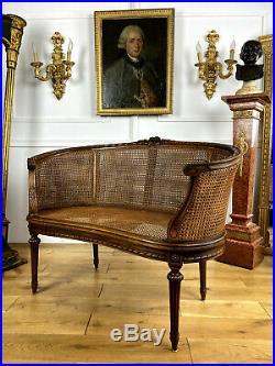 Canapé Corbeille Canné De Style Louis XVI (dossier A Double Cannages)