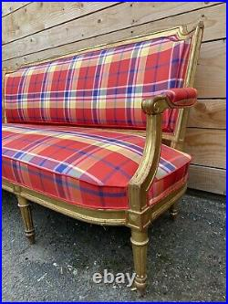 Canapé Napoleon III bois doré XIXeme Ancien Banquette Style Anglais Fauteuil