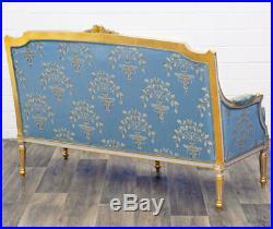Canape Royal Style Louis XVI En Bois Hetre Dore Tissu Bleu Sofa Banquette