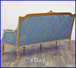 Canape Royal Style Louis XVI En Bois Hetre Dore Tissu Bleu Sofa Banquette 3 Plac