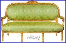Canape Style Louis XVI En Bois Hetre Dore Tissu Vert Sofa Meridienne Baroque