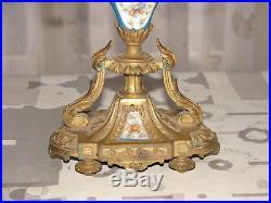 Candélabre ancien bougeoire en bronze et porcelaine Style louis XVI Garniture
