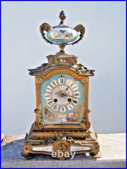 Cartel bronze pendule porcelaine Sevres d'époque 19eme clock style louis XVI