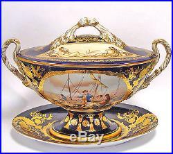 Centre De Table En Porcelaine Coupe A Fruits Soupiere Style Napoleon Empire