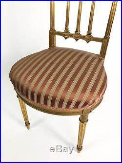 Chaise De Musicien Epoque N III En Bois Doré Et Tapisserie De Style Louis XVI