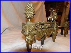 Chenets bronze 19ème style L XVI de belle facture
