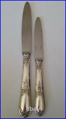 Coffret Ménagére de 24 Couteaux Métal Argenté Style Louis XVI, Lame Platil Inox