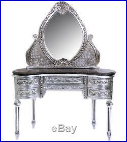 Coiffeuse Style Baroque Louis XVI En Bois Argent Argente Hetre Miroir Empire