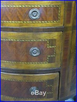 Commode 1/2 lune de style Louis XVI en placage de marqueterie à 3 tiroirs 1950