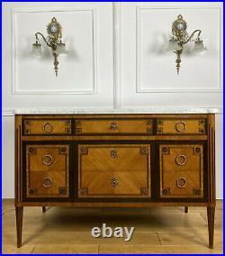 Commode Ancienne De Style Louis XVI En Marqueterie Estampillée Fd Du Faubourg