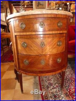 Commode Demi-lune De Style Louis XVI En Placage d'Acajou