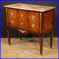 Commode buffet Louis XVI style ancien meuble 2 tiroirs en bois dessus en marbre